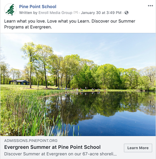 Pine Point School Summer Facebook Ad