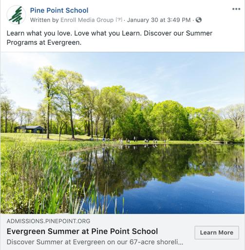 Pine Point School Summer Facebook Ad