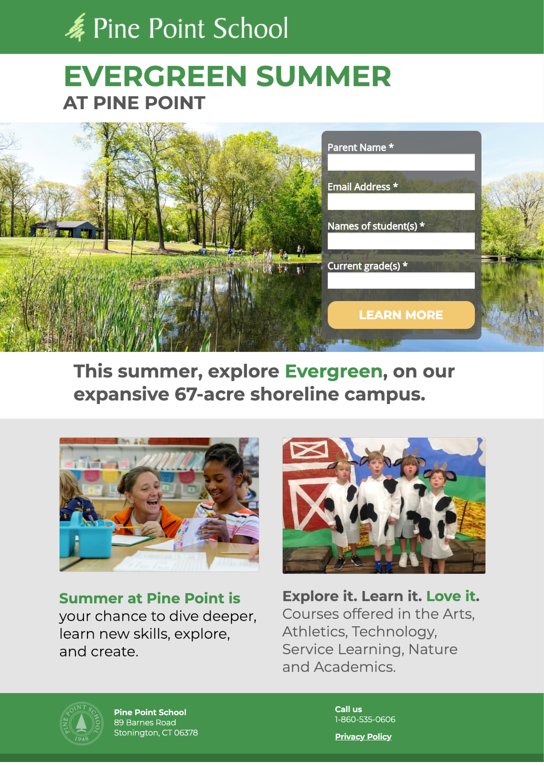Pine Point School Summer Landing Page
