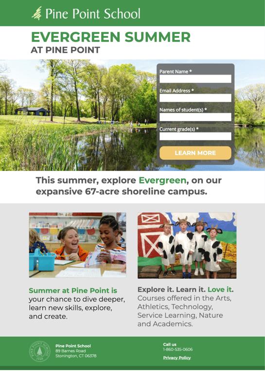 Pine Point School Summer Landing Page
