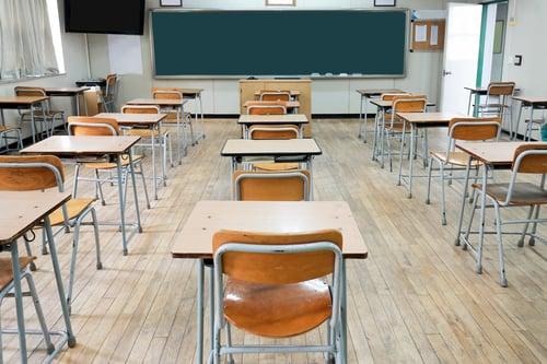 Desks and Chalkboard