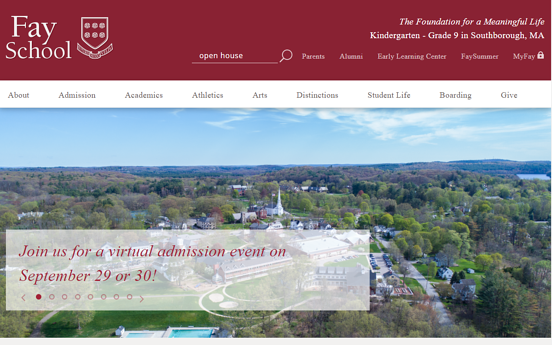 Fay school home page and internal site search