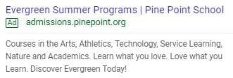 Pine Point School PPC Ad