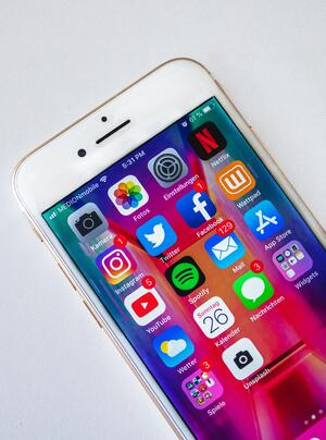 Smart Phone with popular social icons
