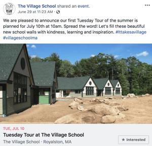 The Village School Facebook post promoting summer tours