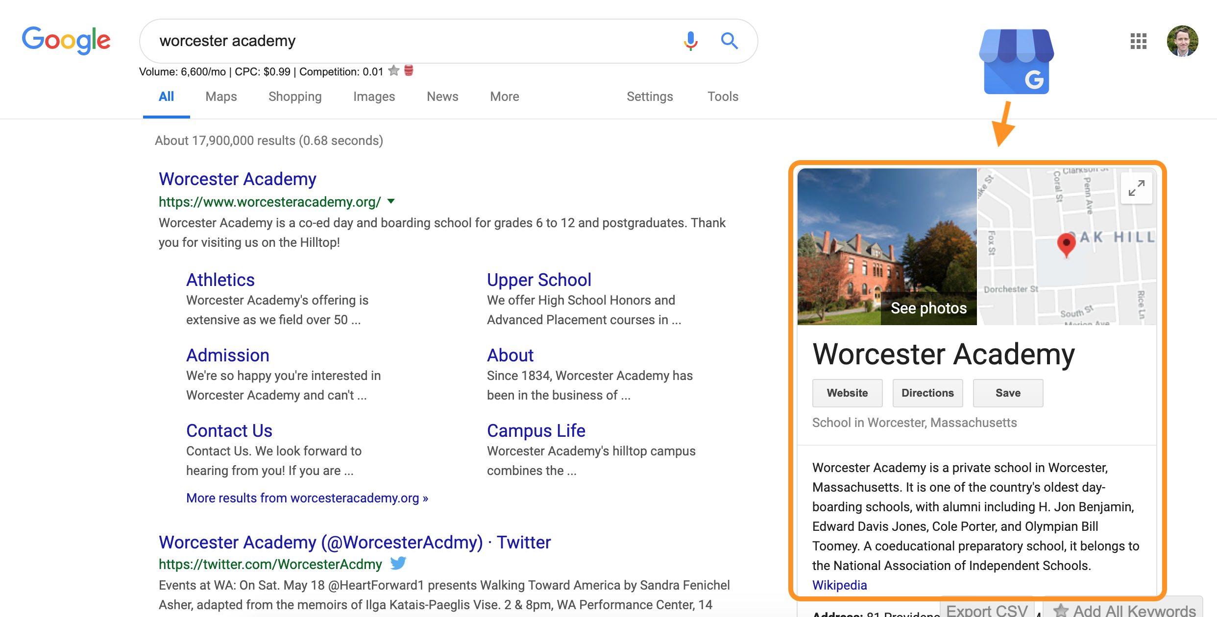 Worcester Academy Google My Business Listing