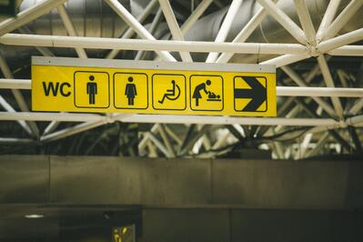 Accessibility signs at airport